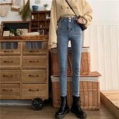 [S-5XL] 新品高腰九分牛仔褲女寬鬆大碼彈力鉛筆小腳褲 - 風尚3C