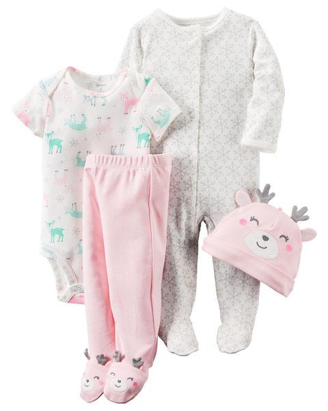 【美國Carter's】套裝四件組-新生兒純棉系列-長袖包腳連身衣+短袖包屁衣+連腳褲+嬰兒帽  126G405
