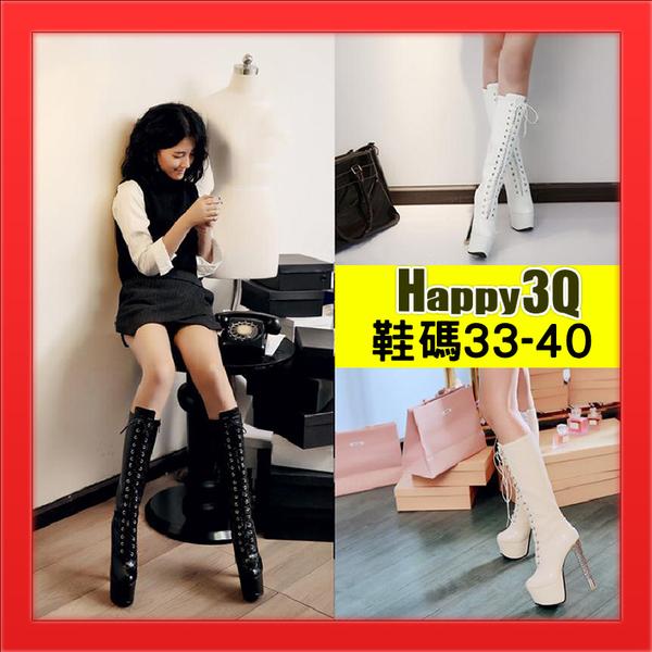 高跟細跟長靴過膝靴SHOW GIRL車展模特兒工作靴長靴百搭綁帶靴-杏/白/黑33-40【AAA3486】預購