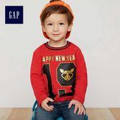 Gap男嬰幼童 新年主題印花長袖T恤 398343-摩登紅色