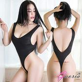 蘇菲24H購物【Gaoria】熱力無限 直紋高叉 死庫水 情趣泳衣 黑 S5-029