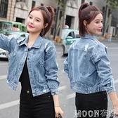 牛仔外套女潮流破洞牛仔短外套女春季新款小個子韓版寬鬆百搭上衣夾克衫快速出貨