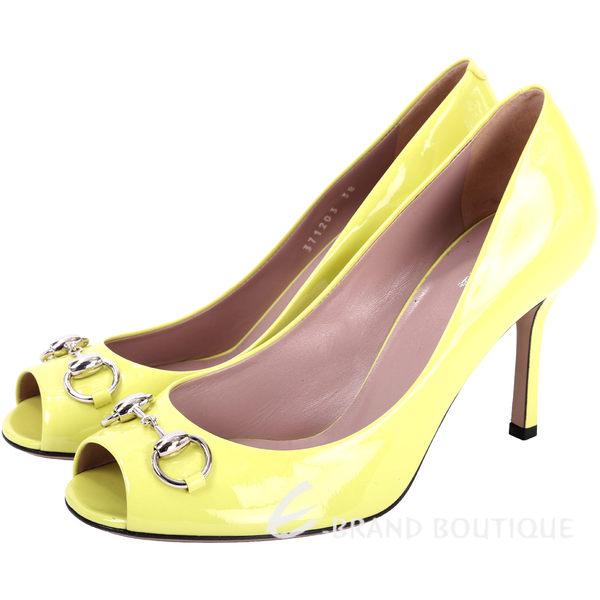 GUCCI Jolene 馬銜飾漆皮魚口高跟鞋(黃色) 1540914-66