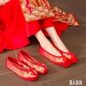 婚鞋秀禾鞋中式紅色上轎鞋新娘平底結婚繡花鞋子2019新款龍鳳鞋女CM608【麗人雅苑】