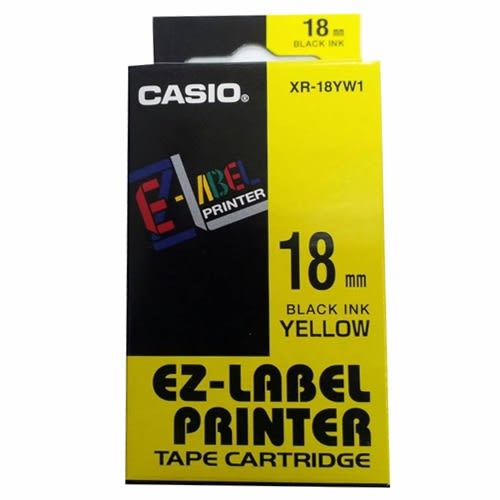 CASIO 標籤機專用色帶-18mm【黃底黑字XR-18YW1】