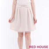 【RED HOUSE 蕾赫斯】可拆式蝴蝶結鬆緊A字裙(淺卡其)