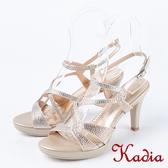 2018春夏新品 Kadia.氣質優雅交叉水鑽跟高跟涼鞋(8109-25金)