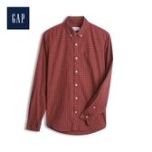 Gap男裝棉质舒适角扣翻领衬衫500044-西瓜紅