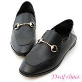D+AF 上質品味.馬銜釦後踩式二穿紳士便鞋*黑