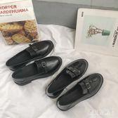 英倫平底樂福鞋 原宿風小皮鞋女新款單鞋方扣一腳蹬懶人鞋 BF22309『寶貝兒童裝』