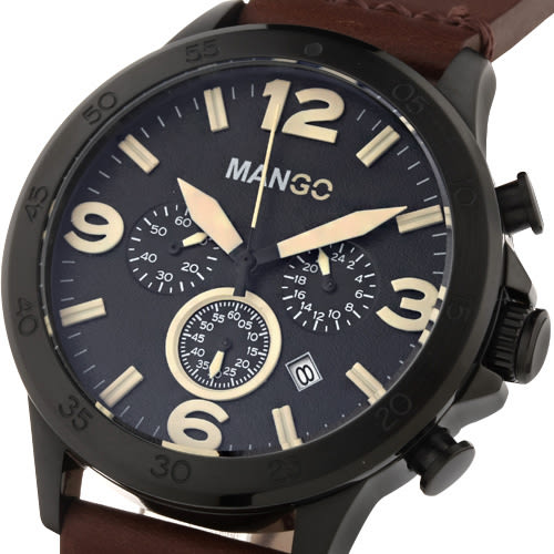 MANGO HOMME 雅痞復古軍式時尚腕錶-黑x咖啡/46mm