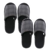 (組)英倫格紋保暖拖鞋-灰Mx1+Lx1