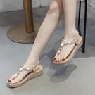 涼鞋女夏季休閒厚底羅馬網紅夾腳海邊度假人字夾趾沙灘鞋坡跟涼鞋 8號店