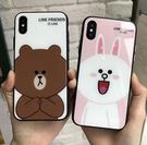 【SZ35】iphone X 手機殼 卡通棕色熊可妮兔玻璃殼 iphone 78 plus手機殼 iphone6s手機殼