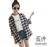 EASON SHOP(GW2168)韓版撞色黑白格紋單口袋前排釦長袖襯衫外套女上衣服落肩寬鬆內搭衫防曬衫空調衫