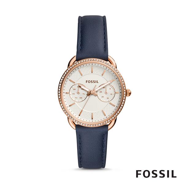 FOSSIL TAILOR 深藍鑲鑽多功能皮革女錶 35mm