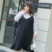 大碼女裝夏裝200斤胖mmV領荷葉擺吊帶背帶洋裝 樂芙美鞋