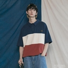 港風復古拼色POLO衫T恤潮男女百搭基礎款短袖tee韓版個性青年學生 夏季新品