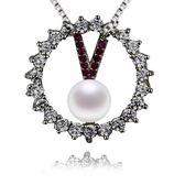 珍珠項鍊 925純銀吊墜-V型鑲鑽5mm正圓生日情人節禮物女飾品73lx15【時尚巴黎】
