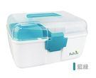 Fullicon護立康-馬卡龍配色雙層家庭保健醫藥箱/藥物收納箱/急救箱-藍綠色