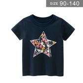 女童短袖T恤。ROUROU童裝。夏女童中小童100%棉星星碎花印花圓領短袖T恤 0221-531