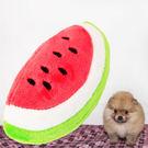 寵物發聲玩具- 橢圓小西瓜  絨毛玩偶 磨牙 聲音 口腔訓練玩具 耐咬 水果 現貨☆米荻創意精品館