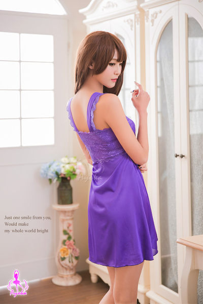 性感睡衣 紫色蕾絲開襟二件式睡衣 (OS小舖)