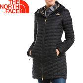 【The North Face 美國 女款 ThermoBall 長版兜帽外套《黑/金》】364B/防潑水防風//暖魔球★滿額送