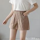 休閒短褲 棉麻短褲女小個子顯高寬鬆休閒女褲夏薄款鬆緊腰闊腿四分褲 618購物節