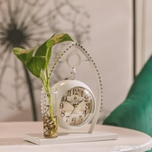 北歐風簡約創意水培鬧鐘擺件金屬鐘表台鐘客廳臥室小鐘表座鐘新款  (橙子精品)