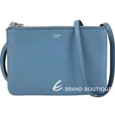 CELINE TRIO 小款 平滑小羊皮斜背包(瓦灰藍) 1920683-23