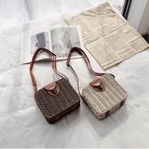 草編包 夏季編織女包藤編包側背斜背包沙灘包旅游度假百搭草編包小包 愛麗絲