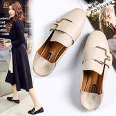 樂福鞋/豆豆鞋 平底百搭仙女純色皮質
