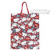 〔小禮堂〕Hello Kitty 手提直式紙袋《M.紅.側坐.滿版》包裝袋.送禮紙袋 4714581-55170