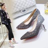 伴娘婚鞋 2018新款春銀色女尖頭細跟亮片水晶高跟鞋 GY660『寶貝兒童裝』