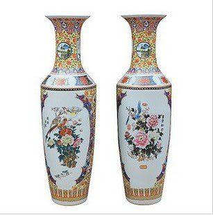 陶瓷 粉彩 落地大花瓶 錦繡前程 家居配飾1.2米