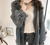 ZUCAS~(XA-3677)防曬衣中長款寬鬆雪紡襯衫外搭開衫薄外套
