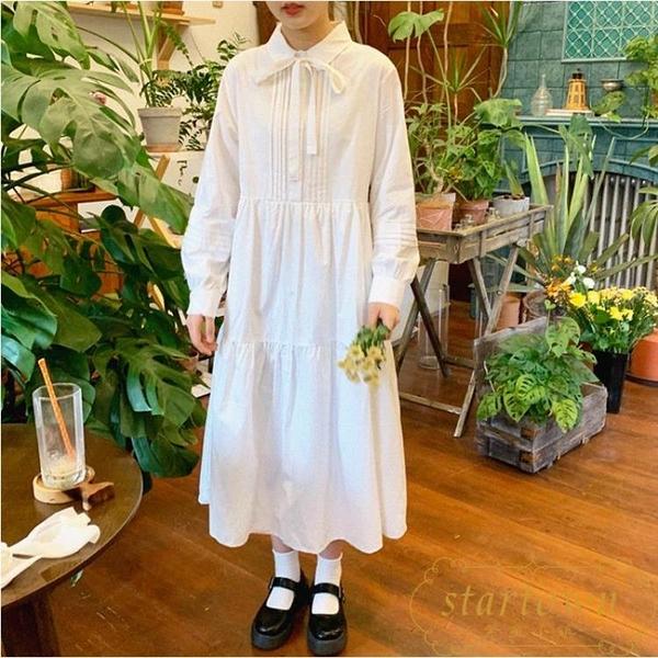 系帶連身裙女純色寬鬆顯瘦長裙氣質休閒裙子【繁星小鎮】