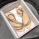 平底涼鞋 水鉆時裝涼鞋女2020年夏季新款仙女風平底百搭ins潮低跟一字羅馬【免運】