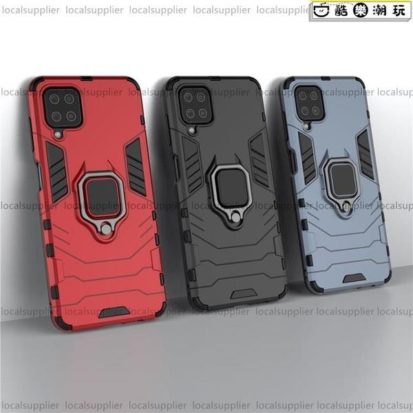 鋼鐵支架人三星A22 5G手機殼三星M12保護殼 全包防摔 軟邊硬殼 Samsung Galaxy A22指環手機殼