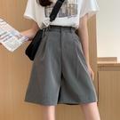 夏季2021年新款韓版高腰直筒西裝褲子五分褲寬鬆闊腿短褲女ins潮 果果輕時尚