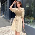VK精品服飾 韓國風可鹽可甜後背鏤空設計感襯衫小吊帶短袖洋裝