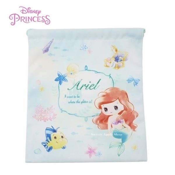 日本限定 迪士尼 小美人魚 愛麗兒 &比目魚 Q版 束口袋 / 收納袋