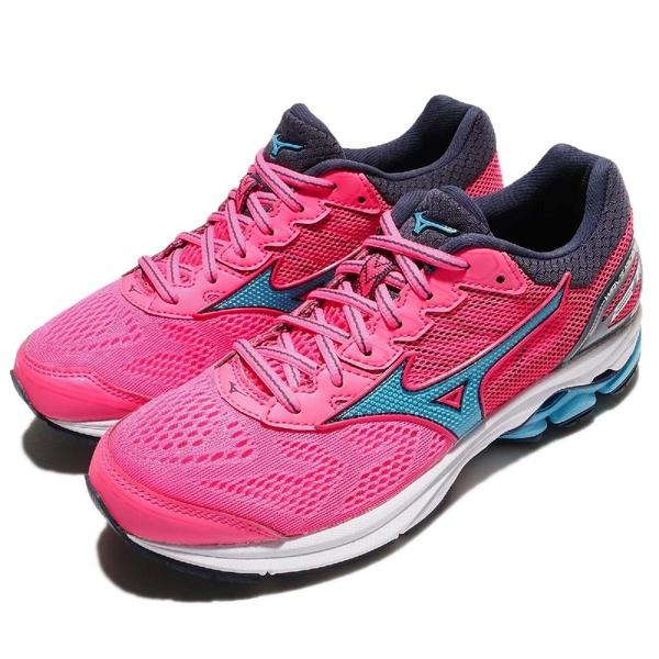 Mizuno 慢跑鞋 Wave Rider 21 粉紅 藍 低筒 緩震舒適 運動鞋 女鞋【PUMP306】 J1GD180323