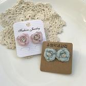 玫瑰鑲鑽小花耳環(2色)抗敏鋼針-耳針-C16020-pipima