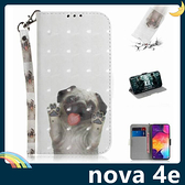 HUAWEI nova 4e 彩繪漸層保護套 卡通側翻皮套 雷射3D視覺 支架 插卡 磁扣 附掛繩 手機套 手機殼 華為