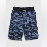 Gap男童棉質迷彩設計鬆緊腰短褲540246-藍色迷彩