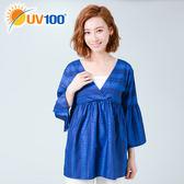 UV100 防曬 抗UV-民族風印花抽皺喇叭袖上衣-女