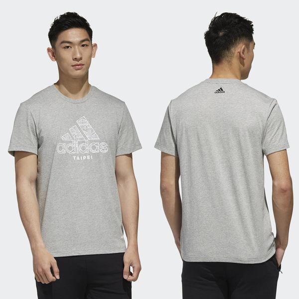【GT】Adidas 黑白灰 短袖T恤 純棉 運動 休閒 訓練 上衣 短T 愛迪達 基本款 台北城市 Logo