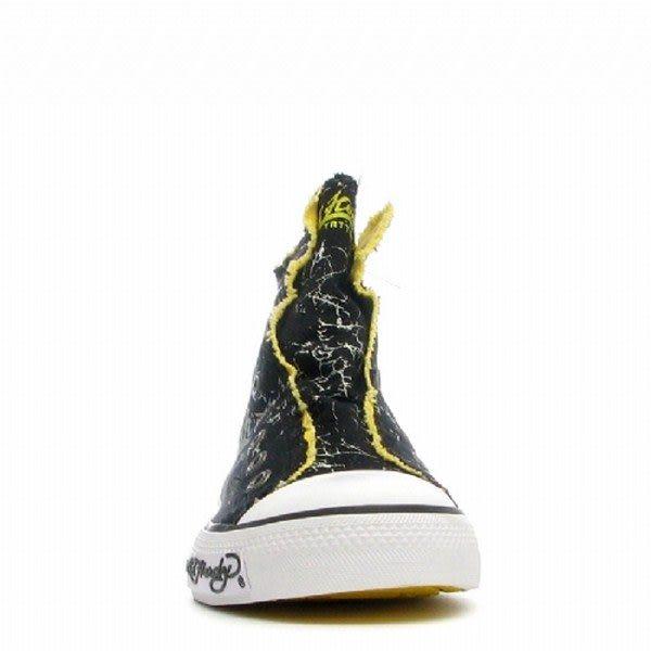【Ed Hardy】黃老虎頭白紋黃毛邊男高筒帆布球鞋-黑